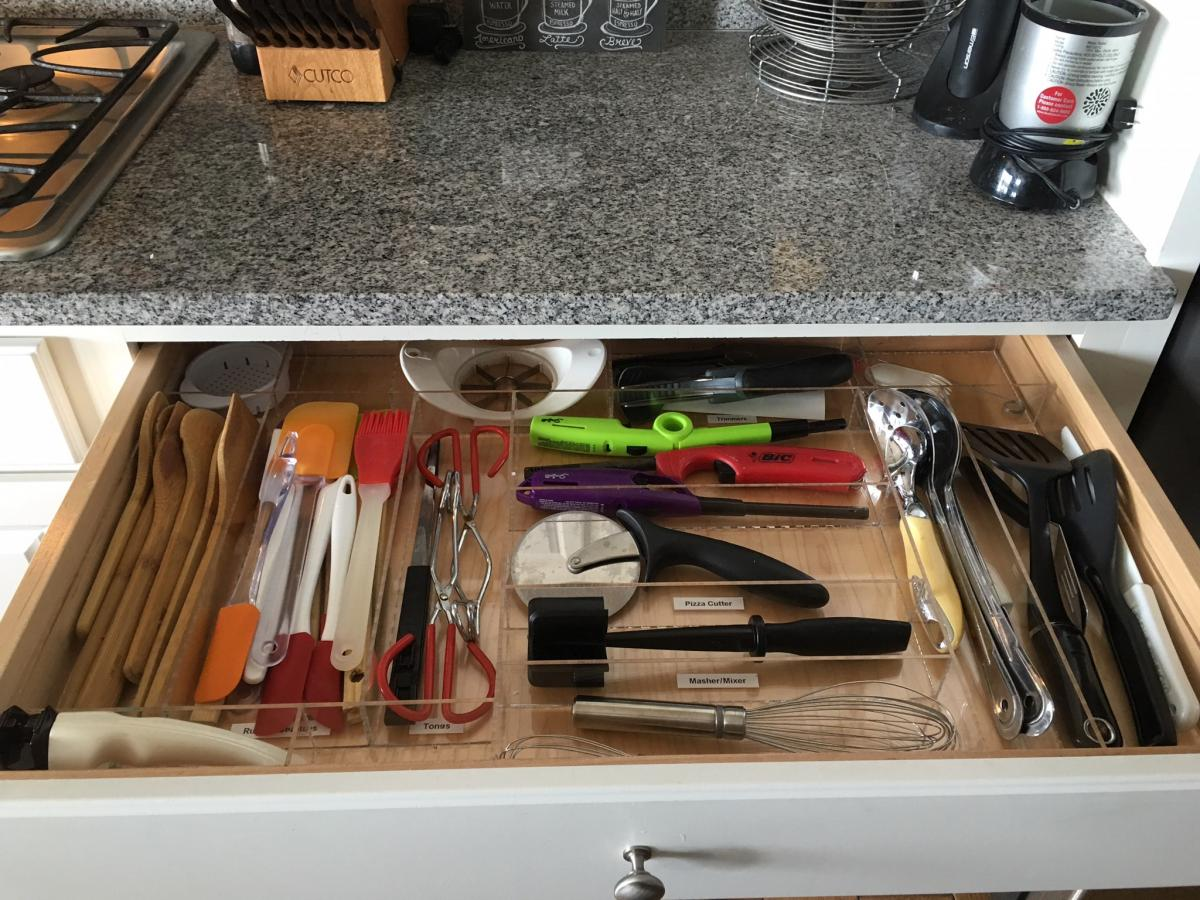 Custom kitchen drawer organizer