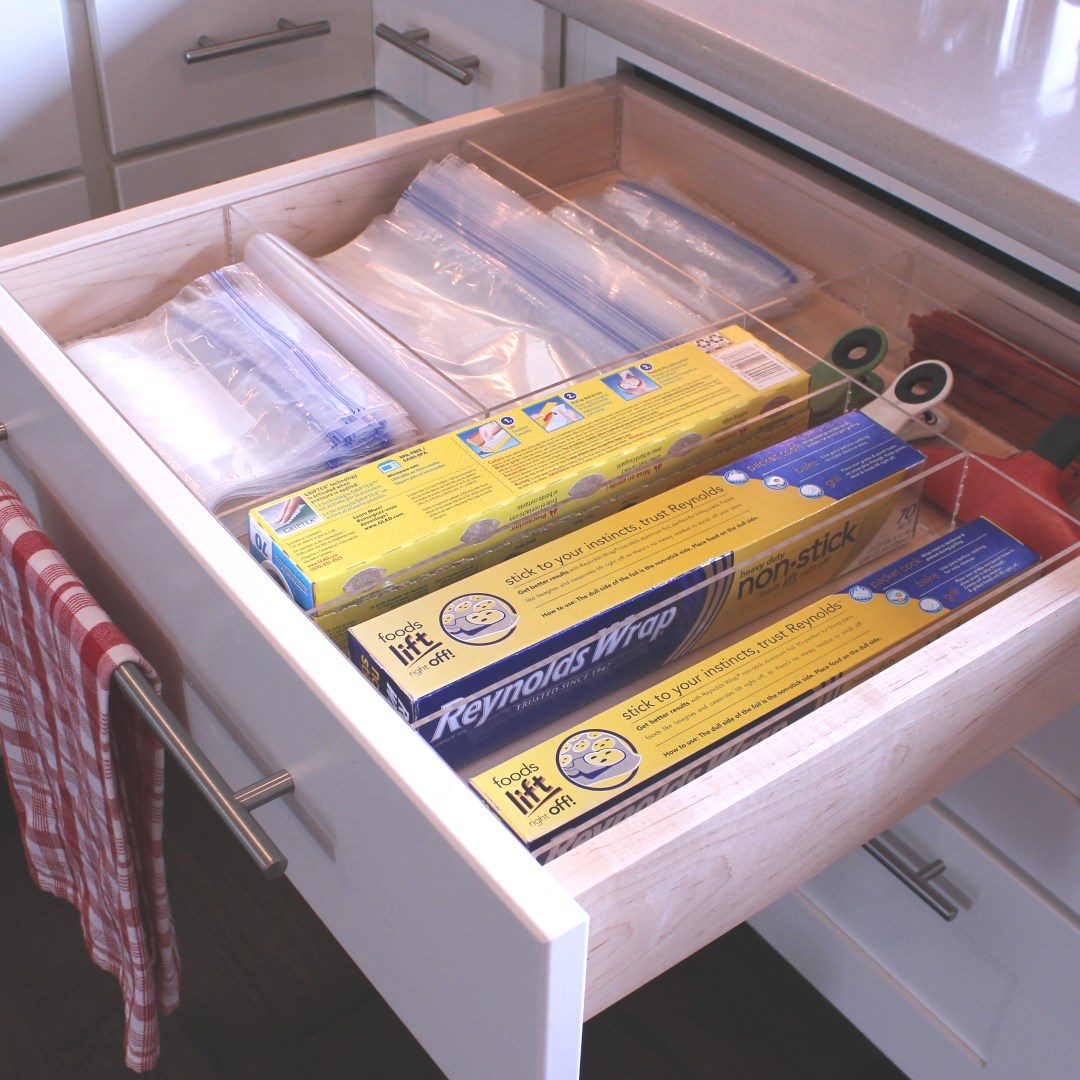 Baggie Wrap Kitchen Drawer Organizer Divider Insert