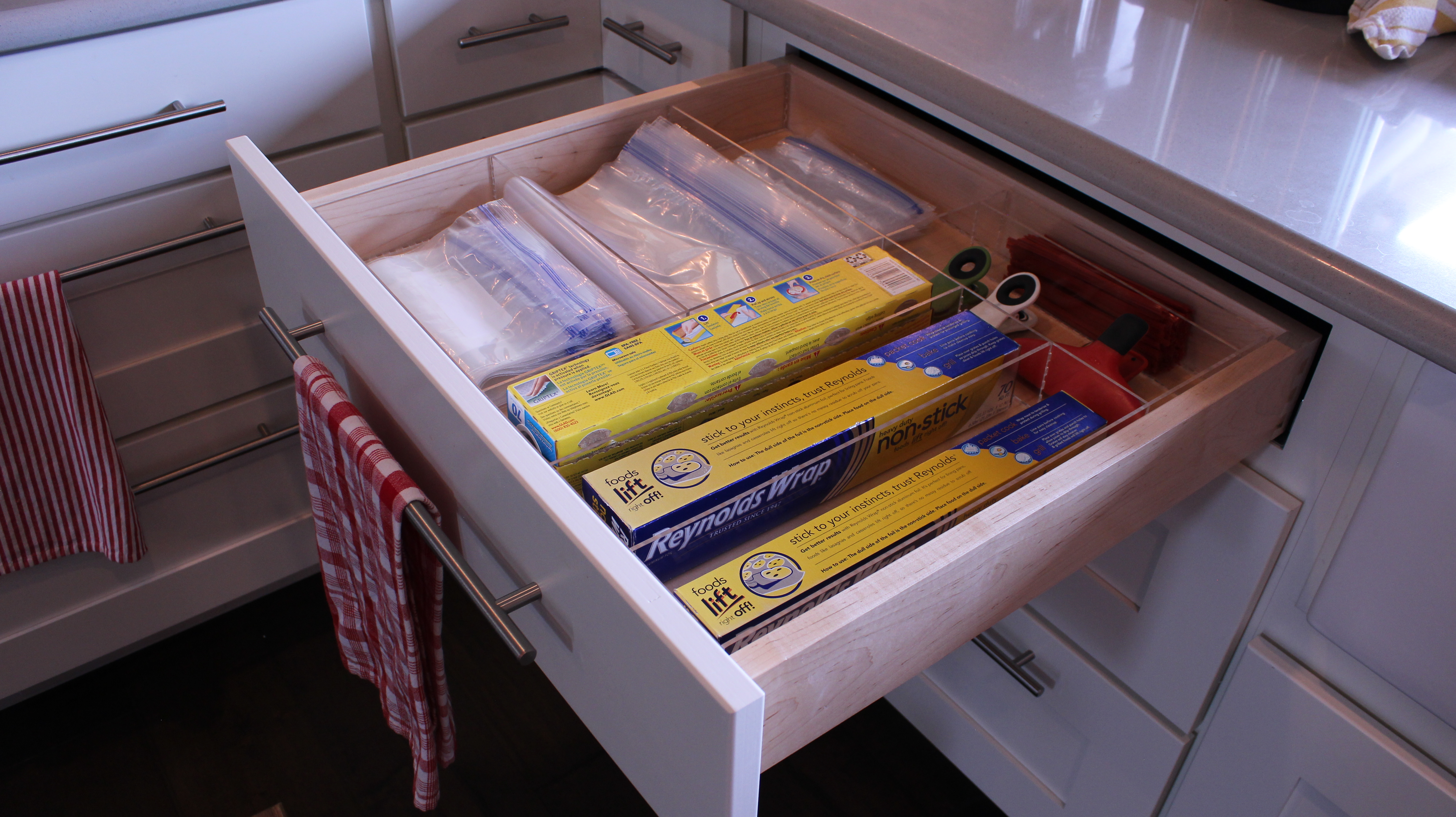 kitchen foil organizer baggie foil and plastic wrap drawer custom acrylic 1736