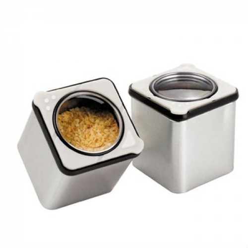 Square Spice Container Tin with Plastic Clear Lid Pour Shake