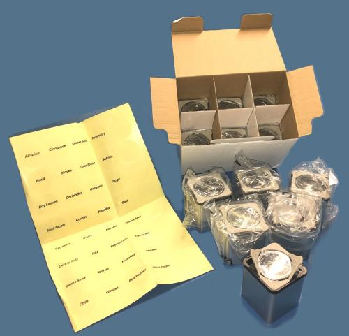 Box of 12 Square Drawer Spice Containers with Labels