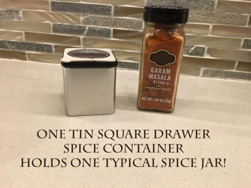 Square Drawer Spice Container equals Typical Jar